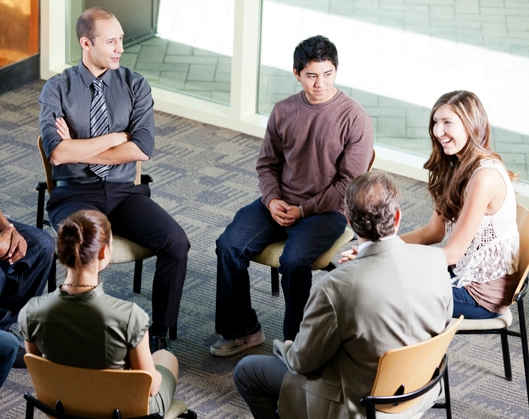 T groups occurs in small groups of 12-15 participants and 2 trained T-group facilitators.
